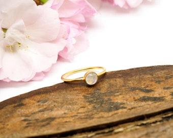 SANI Moonstone Sterling Silver 925 18ct Gold Plated Ring
