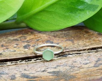 HEXAGON Green Chalcedon Sterling Silver 925 Ring