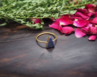 THE MINIMALIST Lapis Lazuli Sterling Silver 925 18ct Gold Plated Ring