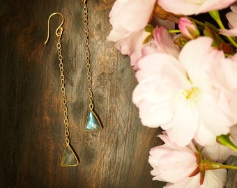 APONI Labradorite Earrings Sterling Silver 925 18ct Gold Plated