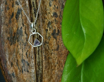 TRIANGLE Amethyst Sterling Silver 925 Pendant