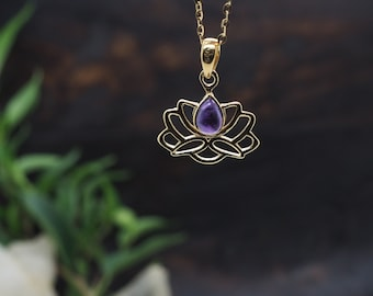 LOTUS Amethyst Sterling Silver 925 18ct Gold Plated Pendant