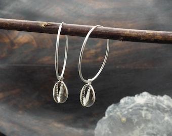 SHELL HOOP Earrings Sterling Silver 925