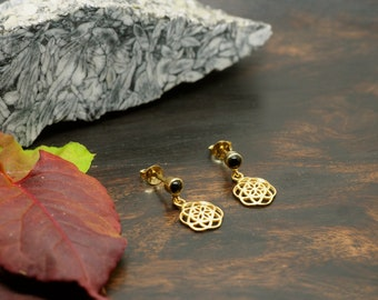 SEED OF LIFE black Onyx Ear Stud Sterling Silver 925 18ct Gold Plated