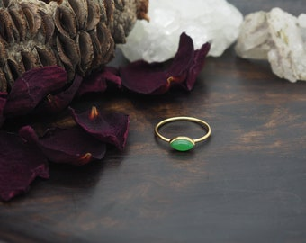 LOMASI Green Onyx Sterling Silver 925 18ct Gold Plated Ring