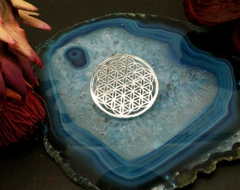 BROOCH SILVER PLATED, Flower of Life, Sri Yantra, Lotus