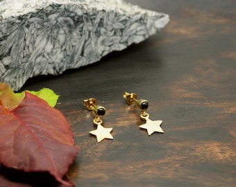 WAKAN black Onyx Ear Stud Sterling Silver 925 18ct Gold Plated