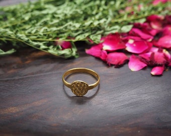 FLOWER OF LIFE Sterling Silver 925 18ct Gold Plated Ring