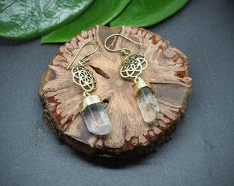 FLOWER OF LIFE Mountain Crystal Brass Earrings
