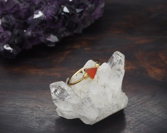 MAKA Carnelian Sterling Silver 925 18ct Gold Plated Ring