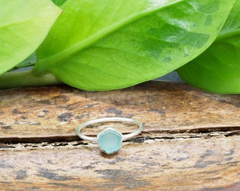 HEXAGON Aqua Chalcedon Sterling Silver 925 Ring