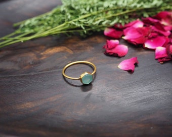 HEXAGON Aquamarine Sterling Silver 925 18ct Gold Plated Ring