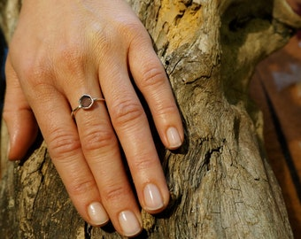 HEXAGON Amethyst Sterling Silver 925 Ring