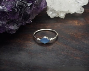 MINAL Blue Chalcedon Sterling Silver 925 Ring