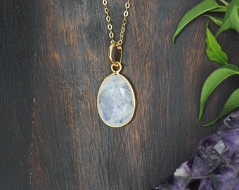 AMITOLA Moonstone Sterling Silver 925 18ct Gold Plated Pendant