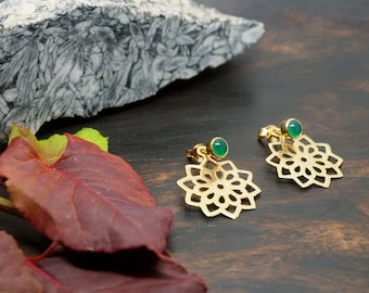 SUNKI green Onyx Ear Stud Jacket Sterling Silver 925 18ct Gold Plated