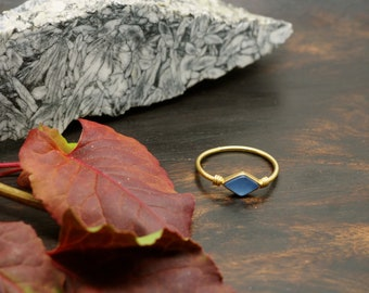 MINAL Blue Chalcedon Sterling Silver 925 18ct Gold Plated Ring