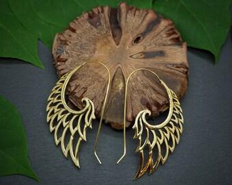 WINGS  Tribal Brass Earrings