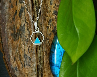 TRIANGLE Turquoise Sterling Silver 925 Pendant