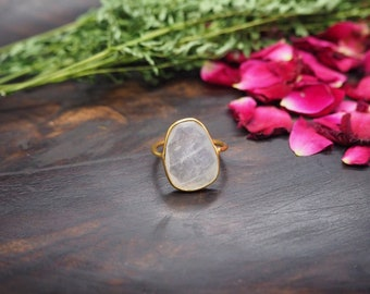 AMITOLA Moonstone Sterling Silver 925 18ct Gold Plated Ring