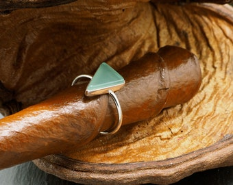 TRIANGLE Aqua Chalcedon Sterling Silver 925 Ring