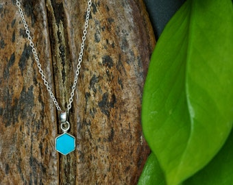 HEXAGON Turquoise Sterling Silver 925 Pendant