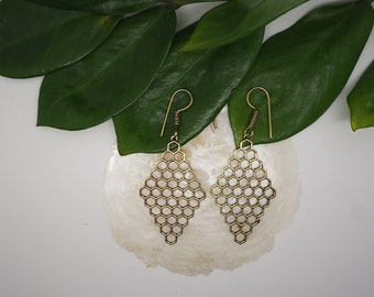 HONEY COMB Brass Earrings