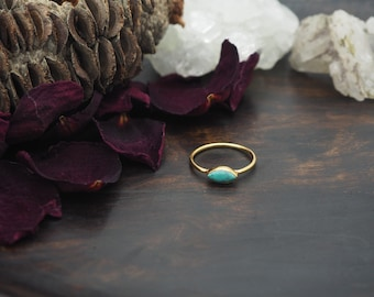 LOMASI Turquoise Sterling Silver 925 18ct Gold Plated Ring