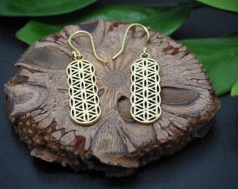 FLOWER OF LIFE Brass Earrings