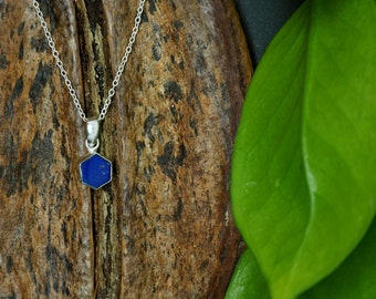 HEXAGON Lapis Lazuli Sterling Silver 925 Anhänger