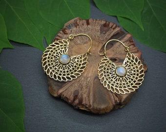 DOLI Moonstone Tribal Brass Earrings