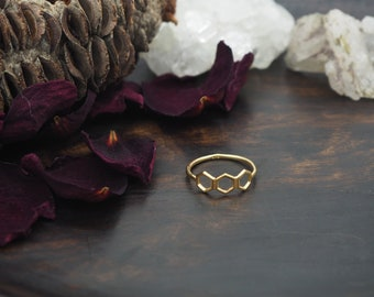 HONEYCOMB Sterling Silver 925 18ct Gold Plated Ring