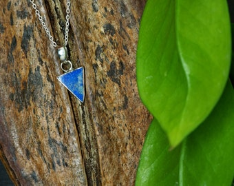 TRIANGLE Lapis Lazuli Sterling Silver 925 Pendant