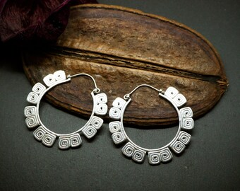 MAYAN Tribal Hoop Silver Plated Earrings