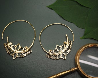 LOTUS Tribal Brass Earrings
