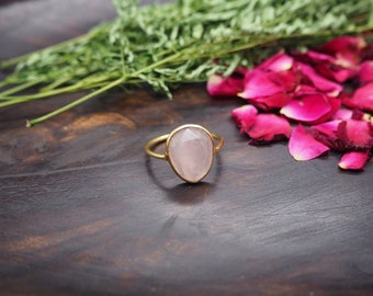AMITOLA Rose Quartz Sterling Silver 925 18ct Gold Plated Ring