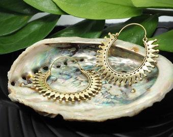 TRIBAL Hoop Brass Earrings