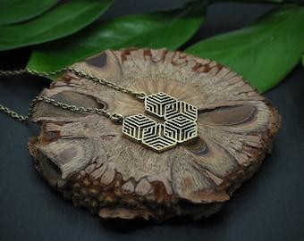 GEOMETRIC SNOWFLAKE Brass Necklace