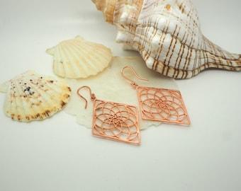 MANDALA Copper Earrings