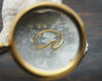 WAVE Sterling Silver 925 18ct Gold Plated Ring