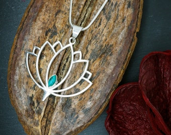 LOTUS Silver Plated Turquoise Pendant