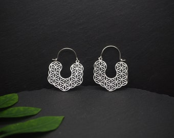 FLOWER OF LIFE Silver Plated Earrings