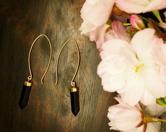SATINKA ONYX Earrings Sterling Silver 925 18ct Gold Plated