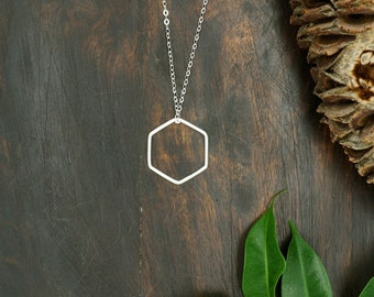 HEXAGON Large Sterling Silver 925 Pendant