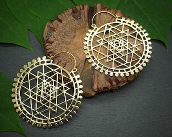 BIG SRI YANTRA Tribal Brass Earrings