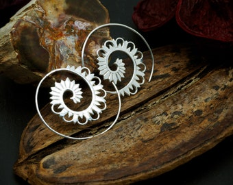SPIRAL TRIBAL Silver Plated Earrings