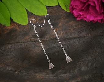 APONI ROSE QUARTZ Sterling Silver 925 Earrings