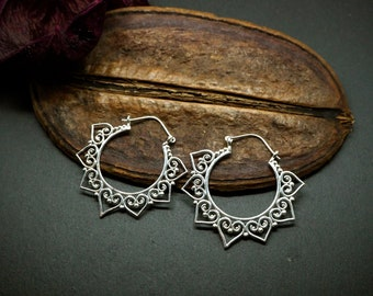 BENA Tribal Hoop Silver Plated Earrings