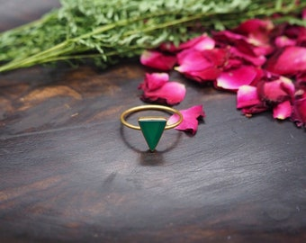 THE MINIMALIST Green Onyx Sterling Silver 925 18ct Gold Plated Ring