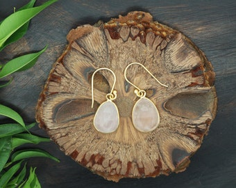 AMITOLA Rose Quartz Earrings Sterling Silver 925 18ct Gold Plated